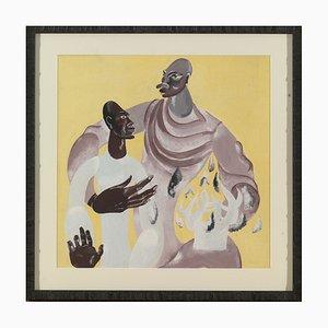 Billen André, 1921-1998, Two Kongo Male Figures, Guouache on Paper