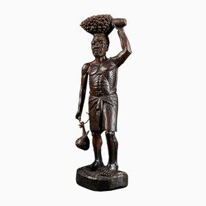 Hartholz Skulptur eines Bärtigen Afrikanischen Mannes mit Kalebasse