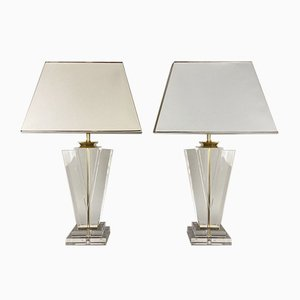 Large Acrylic Plexiglass and Brass Table Lamps, 1970s, Set of 2