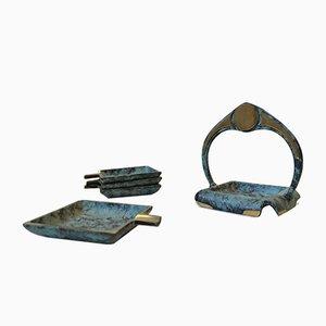 Scandinavian Art Deco Bronze Ashtrays,1940s, Set of 4