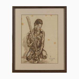 Monogramme, Portrait de Homme Africain, Fusain sur Papier, CP Banzyville, 1944