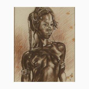 Monogramm, Portait of African Woman, Kohle auf Papier, CP Banzyville, 1944
