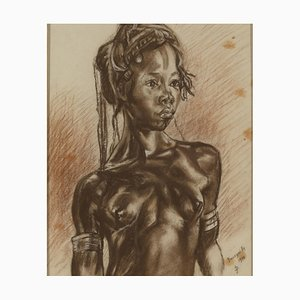 Monogramma, Portait of African Woman, Charcoal on Paper, CP Banzyville, 1944