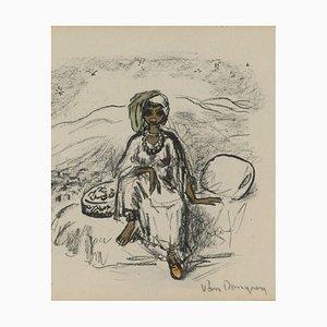 Kees Van Dongen, 1877-1968, Skizze einer ethnischen Frau sitzt auf einem Bett, Lithographie