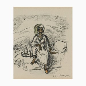 Lithographie de Kees Van Dongen, 1877-1968, Sketch of an Ethnic Woman Sitting On A Bed