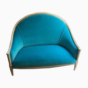 Turquoise Velvet Sofa, 1700s