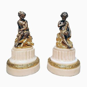 Golden Bronze and Silver Figures, 19th Century, Set of 2