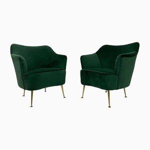 Italian Green Velvet Armchairs, 1950s, Set of 2