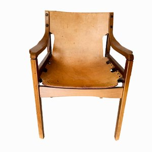 Maple & Leather Lounge Chair, 1960s