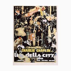 Serigrafía y collage, Mimmo Rotella, The Lights of the City, Chaplin