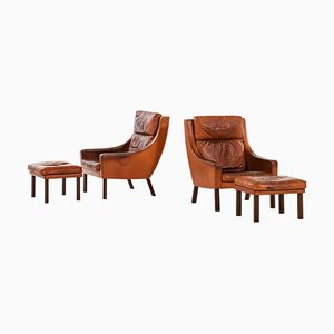 Sessel mit Hockern von Erik Ole Jørgensen für Selectform, Dänemark, 4er Set