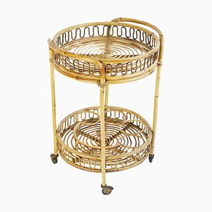 Mid-Century Bamboo and Rattan Round Italian Bar Cart, 1960s