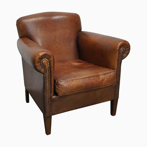 Vintage Dutch Cognac Colored Leather Club Chair