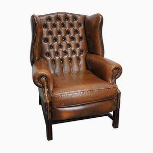 Cognacfarbener Englischer Vintage Leder Chesterfield Klubsessel