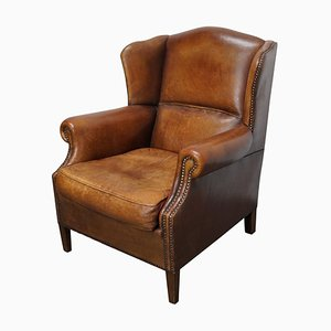 Vintage Dutch Cognac Colored Leather Wingback Club Chair