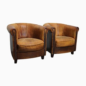 Club chair vintage in pelle color cognac, Olanda, set di 2