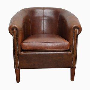 Club chair vintage in pelle color cognac, Paesi Bassi
