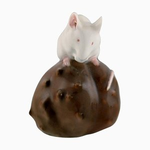 Porcelain Figurine of Mouse on a Chestnut from Royal Copenhagen, Early 20th Century