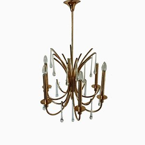 Golden Luster Brass Chandelier, 1960s