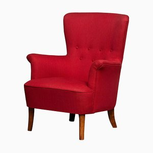 Fuchsia Red Club Lounge Chair by Carl Malmsten for OH Sjogren, Sweden, 1940s