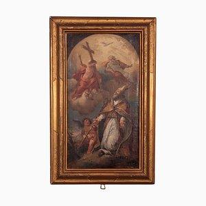 San Nicolás de Bari, En Adoración de la Santísima Trinidad, Óleo sobre lienzo