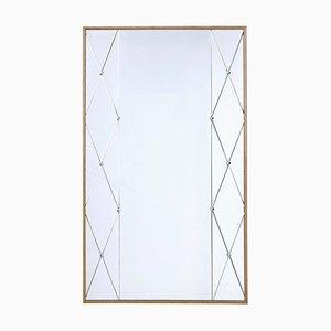 Specchio da parete Mid-Century con cornice in quercia