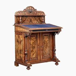 19th Century Carved Burr Walnut Davenport Writing Desk