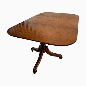 Mesa de comedor antigua de caoba maciza con pedestal
