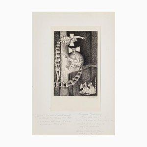 Suzanne Balkanyi, Monkeys, Etching, 1946