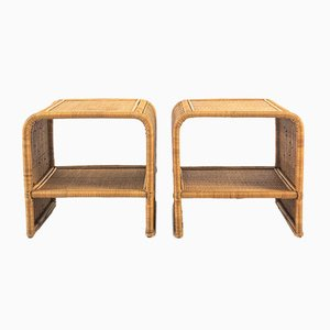 Bamboo and Rattan Bedside Tables, 1970s, Set of 2
