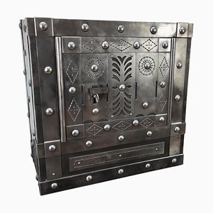Antique Italian Wrought Iron Strongbox, 1820s