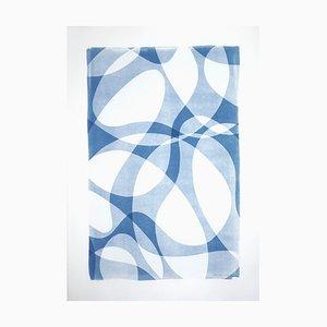 Großer Monotype aus Konturen und Schattierungen in Blau, Aquarellpapier, 2021