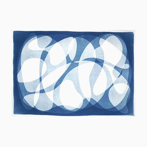 Impresiones curvas y formas en papel, cianotipo en blanco y azul, 2021