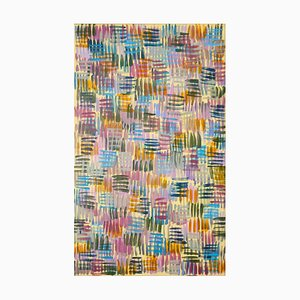 Natalia Roman, Colorful Line Patterns on Yellow, Abstract Painting on Canvas, Pastel Palette, 2021