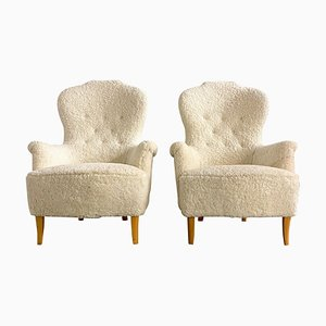 Mid-Century Sheepskin Model Farmor Lounge Chairs by Carl Malmsten, Set of 2