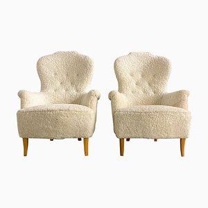 Mid-Century Sheepskin Model Farmor Lounge Chairs by Carl Malmsten, Set of 2