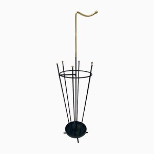 Mid-Century Umbrella Stand in Brass and Lacquered Steel in the style of Gio Ponti, 1950s