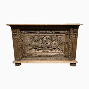 Continental Carved Oak Cupboard or Coffee Table