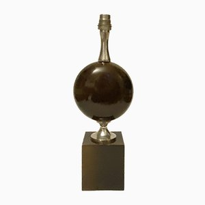 Egg-Shaped Table Lamp in Lacquered Steel and Chromed Metal by Philippe Barbier, 1960s