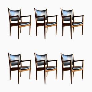JH713 Esszimmerstühle von Hans J. Wegner für Johannes Hansen, 1957, 6er Set