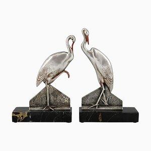 Art Deco Storch Buchstützen aus Bronze von FH Danvin, 1930er, 2er Set