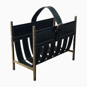 Brass & Black Leather Magazine Rack by Jacques Adnet, 1950s