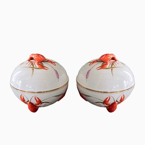 Handpainted Porcelain Tureens with Lobster Decorations from KPM Berlin, 1920s, Set of 2