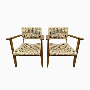 Armchairs by Adrien Audoux & Frida Minet, 1950s, Set of 2