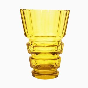 Yellow Art Deco Bohemian Crystal Glass Vase
