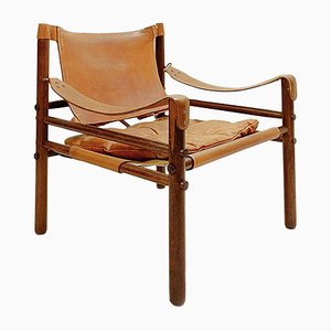 Sirocco Rosewood & Leather Armchair by Arne Norell, 1960s