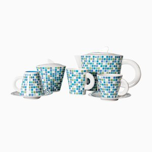 Tea Set in Blue and White Ceramic by Gio Ponti for Richard Ginori, 1972, Set of 5