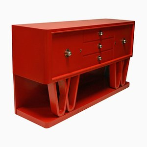 Italian Red Lacquered Credenza, 1950s