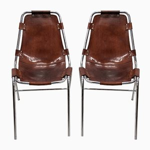 Mid-Century Leather Les Arcs Chairs, Set of 2