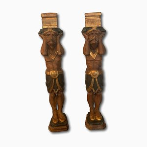 Polychrome Wood and Stucco Sculptures, Set of 2